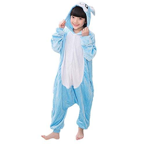 Unisex Kids Onesie Hoodie Pajamas Warm Flannel Rabbit Cosplay Costumes Jumpsuit (Blue, 6-6x)