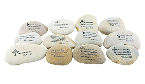 Stone Scripture (Stonebriar 12pc Inspirational Scripture Stones, Religious Gifts for Friends & Family)