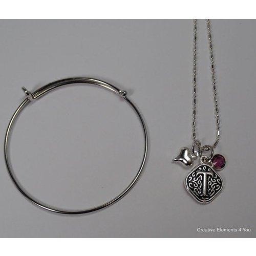 Initial Charm Necklace and Bangle Bracelet Starter (Swarovski Starter)