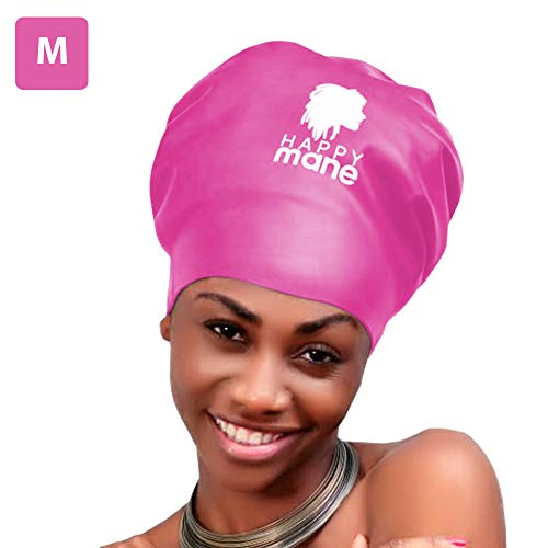 Happy Mane Silicone Swim Cap for Braids and Dreadlocks – Keeps Your Hair Dry While Swimming and Bathing Long Hair, Extensions, and Curly Hair – Large & XL Shower Cap for Women, Men, Kids (Pink, M)