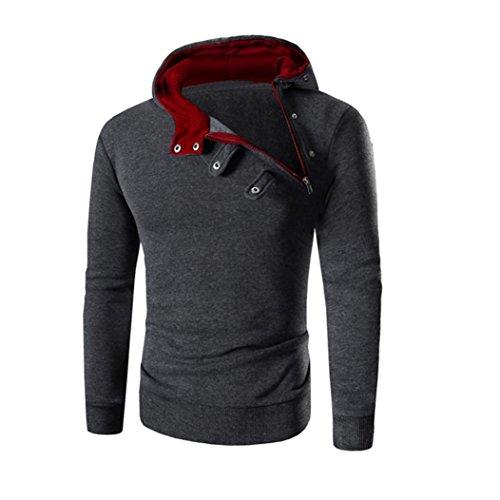 OverDose La chaqueta de la chaqueta de las tapas de la sudadera con capucha de la manga larga retro de los hombres Outwear Rojo