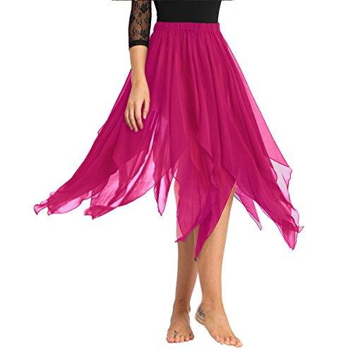 FEESHOW Womens Chiffon Hi-Low Long Dance Skirt Lyrical Dance Costumes Rose One Size