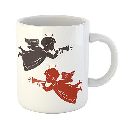 Semtomn Funny Coffee Mug Biblical Christmas Angel Plays the Trumpet Silhouette Cherub 11 Oz Ceramic Coffee Mugs Tea Cup Best Gift Or Souvenir