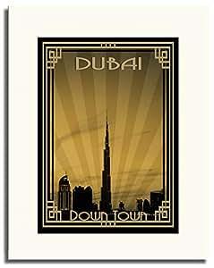 Dubai Skyline Down Town - Sepia With Gold Border F05-m (a3) - Framed