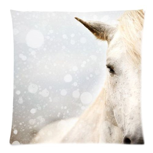 Hot New Arrival Artistic Horse Equine Rustic Brown and White Horse Dalla's Glance Winter Snow Pillow Cases - 18 x 18