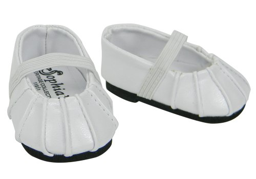 White Baby Doll Shoes - Baby Doll Shoes in White fit for Bitty Baby American Girl Dolls, Ballerina Doll Flats in White