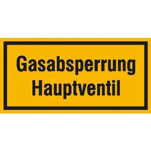 INDIGOS UG - Gasabsperrung Hauptventil Hinweisschild zur Betriebskennz., selbstklebend, 20x10 cm