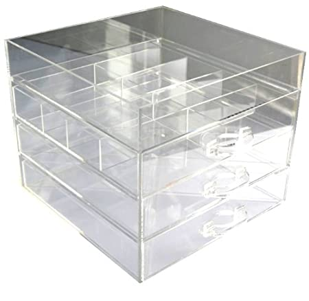 3 Draw Clear Cube Kardashian Acrylic Lucite Makeup Box Cosmetic Jewellery Organiser With Dividers