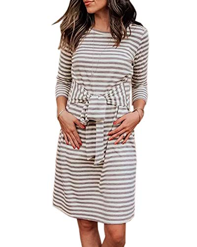 Coutgo Womens 3/4 Sleeve Striped Dresses Casual Round Neck Belted Tie Front Pencil Tunic Dress