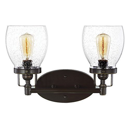 (Sea Gull Lighting 4414502-782 Belton Two-Light Bathroom Light Or Wall Light With Clear Seeded Glass Shades, Heirloom Bronze Finish)