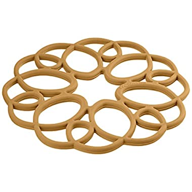 Rachael Ray Silicone Heat Resistant Multi-Use Medallion Design Trivet, Brown
