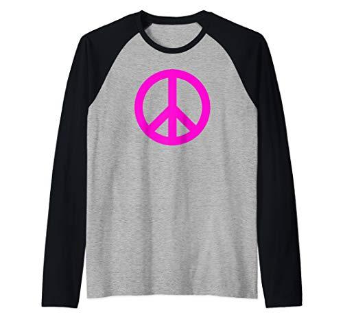 - Hot Pink Peace Sign Symbol Raglan Baseball Tee