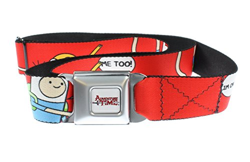 [Adventure Time Seatbelt Belt - Finn and Jake on Red] (Month Belt Buckle)