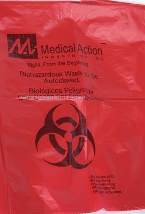 Medegen Medical 880 Autoclavable Biohazard Bag, 1-2 gal Capacity, 285°F Temperature, 1.8 mil Thickness, 12'' Height, 8'' Width, Orange/Black (Pack of 400)