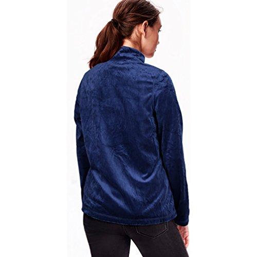 Baymate Mujeres Casual Suelto Chaqueta Cremallera Deportes Outwear Tops Mangas Largas Oscuro Azul