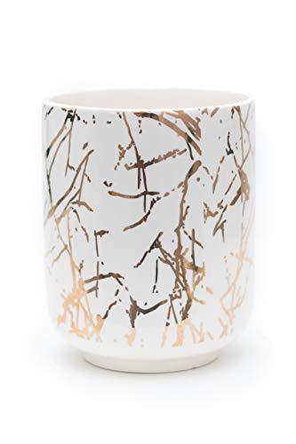 - Multi-Purpose - Marble Look - Gold Planter Pot or Gold Utensil Holder -Ceramic Flower Pot Indoor - 6 Inch Planter