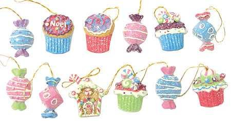 Price comparison product image Package of Cute Mini Resin Candy and Cake Ornaments for Tree Trim,  Package Tie Ons,  or Craft Projects- 24 Pieces