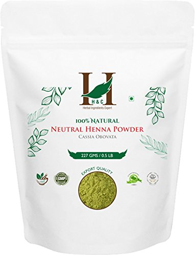 - H&C 100% Pure Natural Organically Grown Neutral Henna Powder / Colorless Henna / Senna Powder / Cassia Obovata (227g / (1/2 lb) / 8 ounces) For conditioning your hair without coloring.