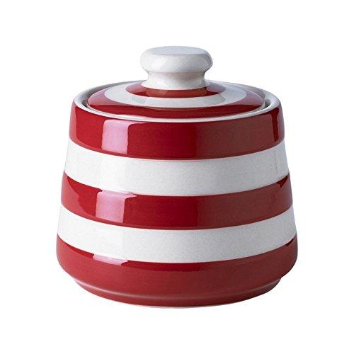 - Cornishware Red and White Stripe Stoneware Covered Sugar Bowl
