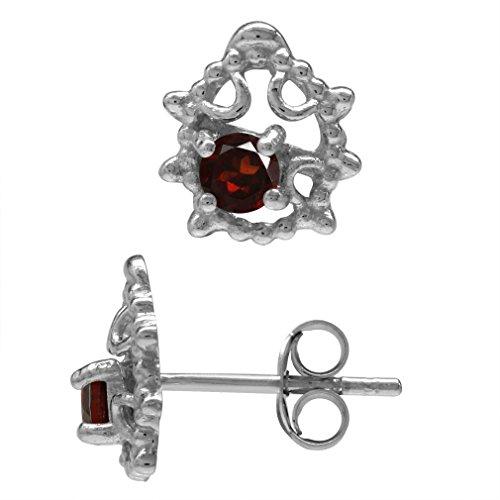 Silvershake Petite Natural Garnet 925 Sterling Silver Ladybug Teens Girls Casual Post Stud Earrings