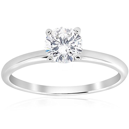 5/8CT Solitaire Diamond Engagement Ring 14K White Gold