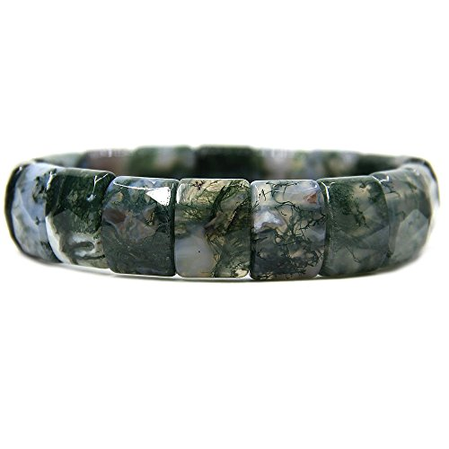 (Natural Moss Agate Genuine Semi Precious Gemstone 15mm Square Grain Faceted Beaded Stretchable Bracelet)