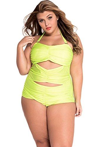70f6a5301 Beauty Decor women sex Neon Green Sweetheart Ruched Plus Size Swimsuit  Green XXL