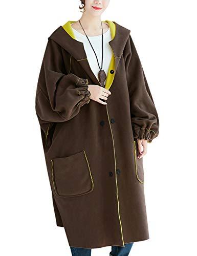 Femmes Youlee Simple Manteaux Manteau Grande Avec Réversible Capuche À Taille Jaune Boutonnage 4OqdxOn