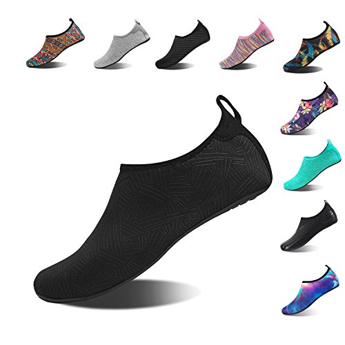 NINGMENG Aqua Socks Beach Water Shoes Barefoot Yoga Socks Quick-Dry Surf Swim Shoes for Women Men (JH.Black, (Play Swim Socks)