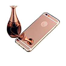 """iPhone 6S Mirror Case,Phonecase Home Clear Thin Luxury Hybrid Glitter Bling TPU Soft Shiny Bumper with Glass Mirror Cover Case for iPhone 6(4.7"""")-Rose Gold"""