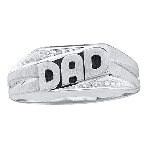 14kt White Gold Mens Round Diamond Dad Father Ring .01 Cttw (Dad Ring Round Mens Diamond)