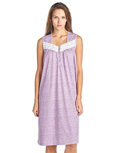 - Casual Nights Women's Fancy Lace Trim Sleeveless Nightgown - Purple - 3X-Large