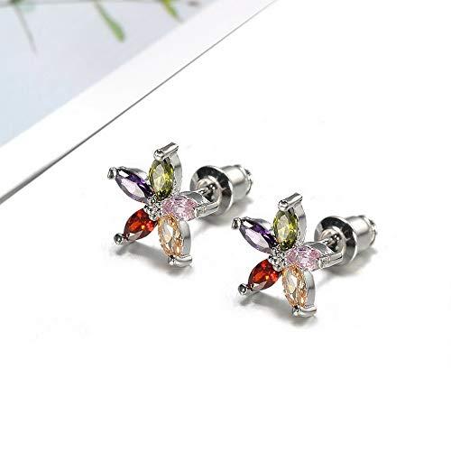 Tomikko Vintage 925 Silver Five Star Flower Blue Sapphire Snowflake Ear Stud Earrings | Model ERRNGS - 11504 |