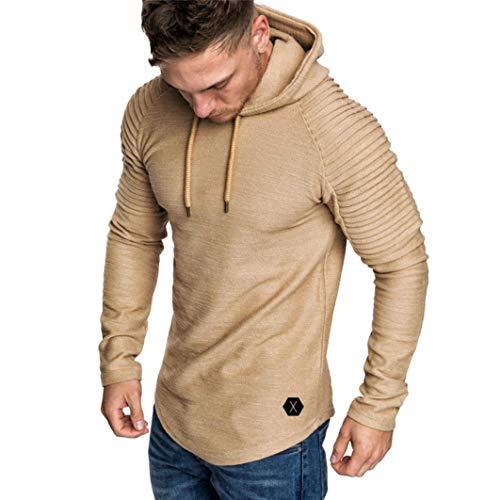Caopixx Men's Autumn Winter Pleats Slim Fit Hooded Pullover Raglan Long Sleeve Hoodie Men Top ()
