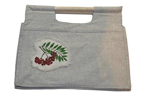 Women's Handbag Hand made Hemp cloth Organic bag Shopping Bag Hemp bag (White) (White Two)