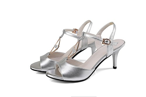 AdeeSu Womens Hollow Out Spikes Stilettos Metal Buckles Leather Sandals SLC03400 Silver p2Gm0X