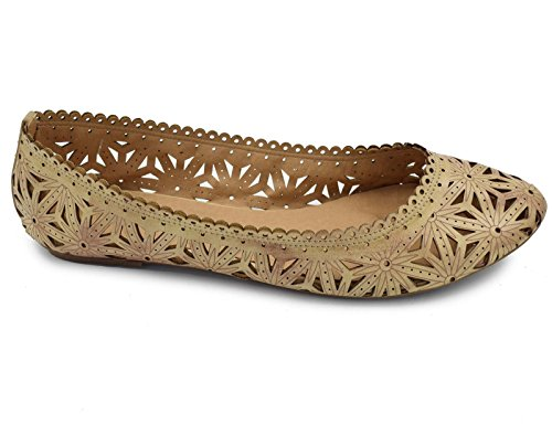 Greatonu Mujeres Flower Cut Out Bailarinas Planas Beige