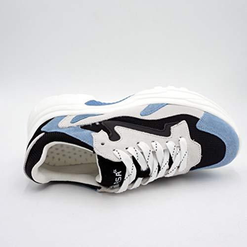 Chunky Maille Semelle Épaisse Tissu Patchwork Bleu Femmes Dames Jrenok Talons Hauts Coton Plate Chaussures Plateforme Baskets À Lacets En 5RtBqxa