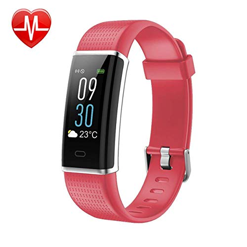 KARSEEN Fitness Tracker, Activity Tracker Fitness Watch Heart Rate Monitor Colorful OLED Screen Smart Watch with Sleep Monitor, Step Counter, IP68 Waterproof Pedometer for Android&iOS Phone (Pink)