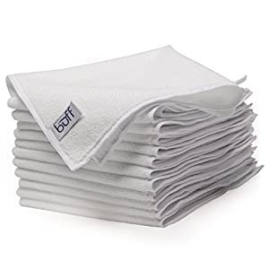 "White Microfiber Towels by Buff Pro | Professional House-Hold Cleaning Cloths For High Quality Results | large size 16"" x 16"" (12 Pack)"