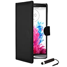 32nd® Book wallet PU leather case cover for LG G3 (D855), including screen protector, cleaning cloth and touch stylus - Black