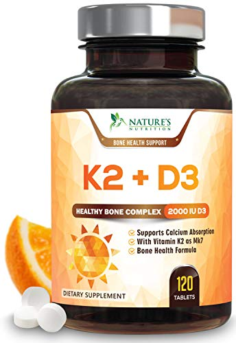 Vitamin K2 (MK7) with D3 Supplement - Vitamin D & K Complex for Calcium Absorption - Healthy Bone, Heart and Teeth Formula - MK-7, Non-GMO & Gluten Free by Nature's Nutrition - 120 Veggie Capsules