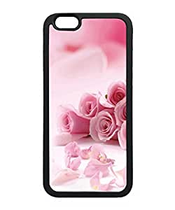 VUTTOO Iphone 6 Case, Pink Roses Flowers TPU Case for Apple iPhone 6 4.7 Inch Black