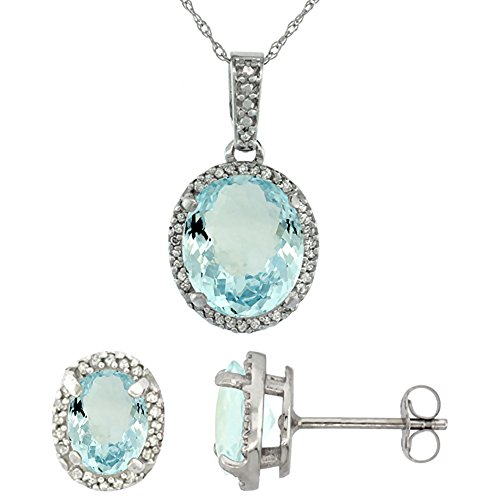 10k White Gold Diamond Natural Aquamarine Oval Halo Earrings Necklace Set Oval 7x5mm & 11x9mm