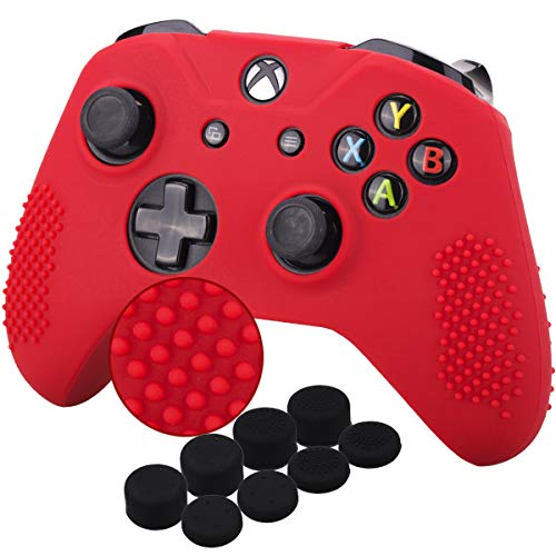 YoRHa Studded Silicone Cover Skin Case for Microsoft Xbox One X & Xbox One S Controller x 1(Red) With Pro Thumb Grips 8 Pieces (Red Silicone Xbox One Controller)