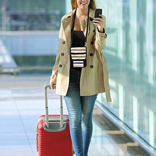トラベルウォレット ミニ ネックポーチトラベルポーチ ポータブル 金と黒 縦のライン ストライプ 小さな財布 斜めのパッケージ 首ひも調節可能 ネックポーチ スキミング防止 男女兼用 トラベルポーチ カードケース