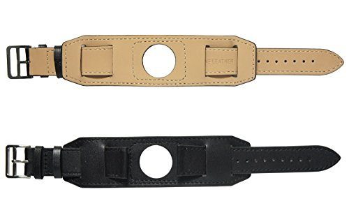 22mm Genuine Leather Cuff Watch Band Strap + Tool For LG G Watch R / Urbane / Pebble Time / Pebble Time Steel / Gear 2 R380 / Zenwatch 1st (Black) - Time Cuff Watch