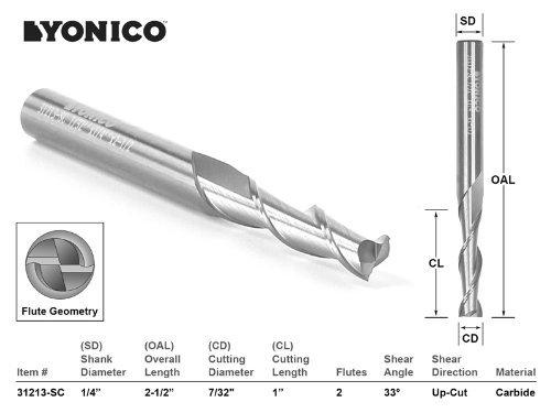/1//2 1//4/v/ástago, Yonico 31215-sc Yonico 31215-sc CNC Router Bit Up Cut Solid Carbide 1//4/x 1 x 1//4/x 2/