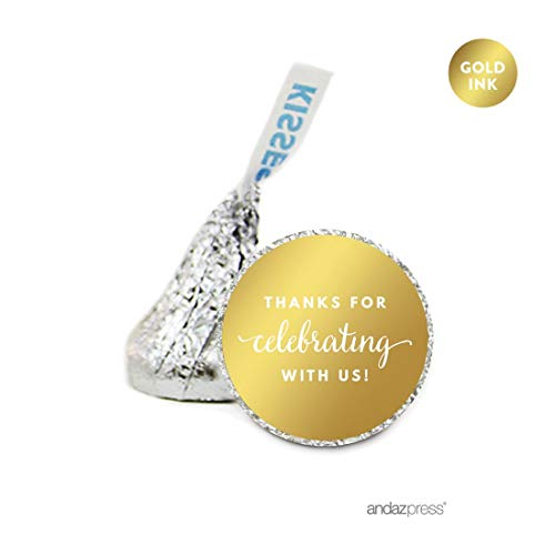Andaz Press Chocolate Drop Labels, Metallic Gold Ink, Thanks for Celebrating With Us!, 216-Pack, Fits Hershey's Kisses, Not Gold Foil, Gold Stationery, Invitations, Decorations -
