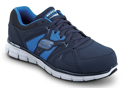 Skechers Larry Men's MaxTrax Slip Resistant Athletic Sneaker (8.5 M, Navy Blue) (Shoes Comfort Larry)